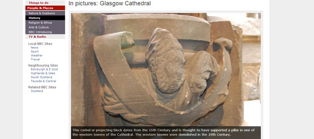 Glasgow Cathedral is featured in a slideshow on the BBC website which includes historical information and detailed photographs of Cathedral.